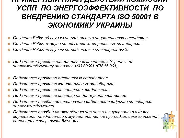 ПРИМЕРНЫЙ ПЛАН ДЕЙСТВИЙ КОМИССИИ УСПП ПО ЭНЕРГОЭФФЕКТИВНОСТИ ПО ВНЕДРЕНИЮ СТАНДАРТА ISO 50001 В ЭКОНОМИКУ