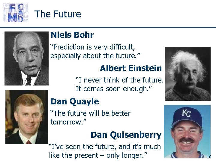 "The Future Niels Bohr ""Prediction is very difficult, especially about the future. "" Albert"