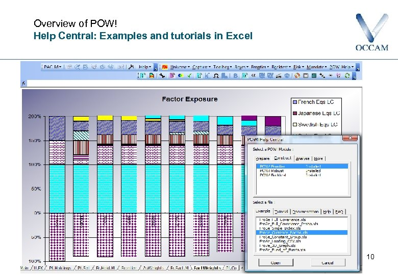 Overview of POW! Help Central: Examples and tutorials in Excel 10