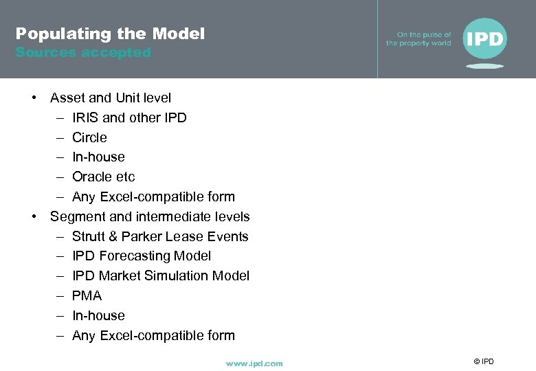 Populating the Model Sources accepted • Asset and Unit level – IRIS and other