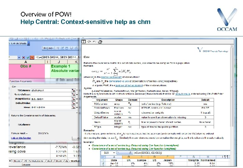 Overview of POW! Help Central: Context-sensitive help as chm 11