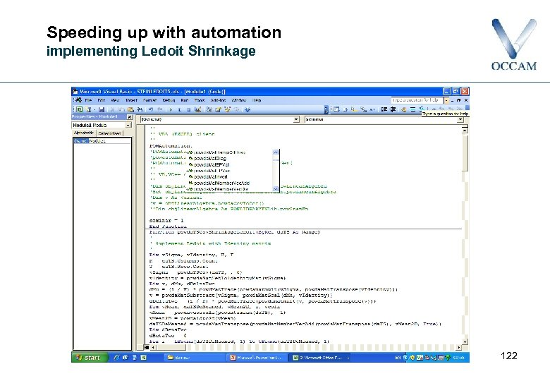 Speeding up with automation implementing Ledoit Shrinkage 122