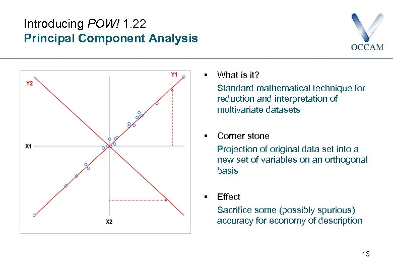 Introducing POW! 1. 22 Principal Component Analysis § What is it? Standard mathematical technique