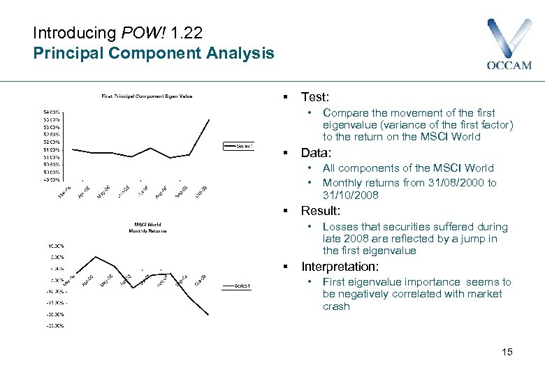 Introducing POW! 1. 22 Principal Component Analysis § Test: • § Data: • •