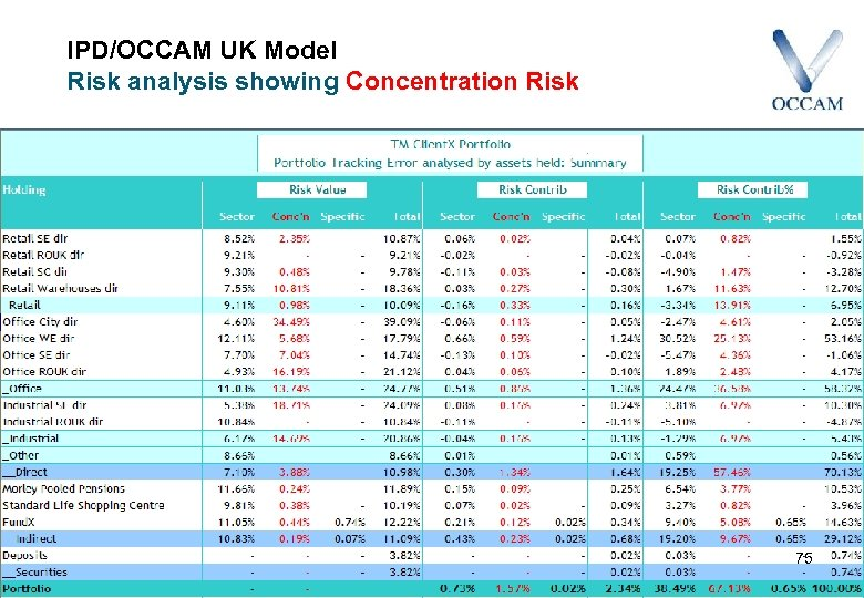 IPD/OCCAM UK Model Risk analysis showing Concentration Risk 75