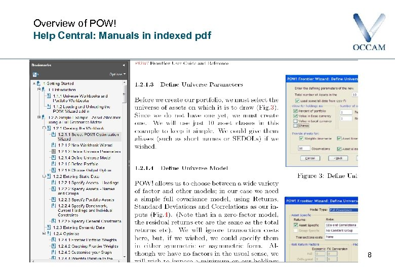 Overview of POW! Help Central: Manuals in indexed pdf 8