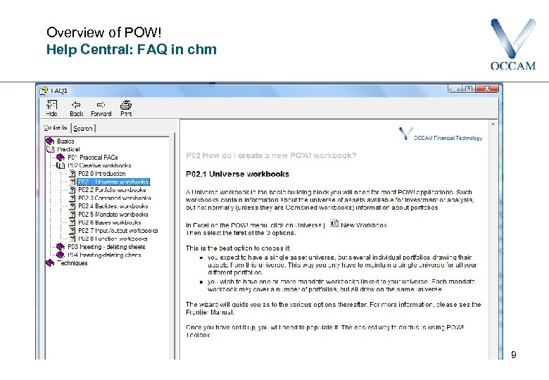 Overview of POW! Help Central: FAQ in chm 9