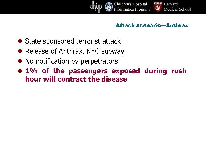 Attack scenario—Anthrax l l State sponsored terrorist attack Release of Anthrax, NYC subway No