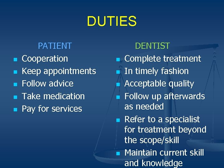 DUTIES n n n PATIENT Cooperation Keep appointments Follow advice Take medication Pay for