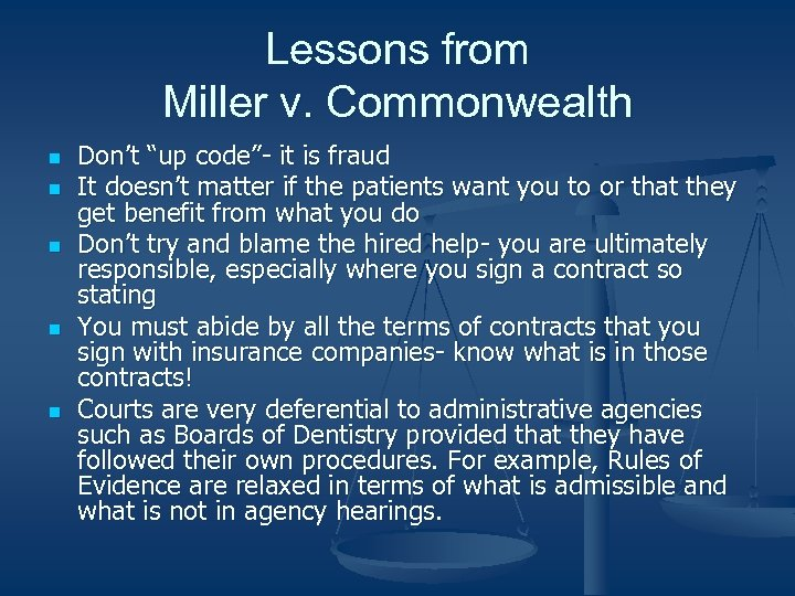 """Lessons from Miller v. Commonwealth n n n Don't """"up code""""- it is fraud"""