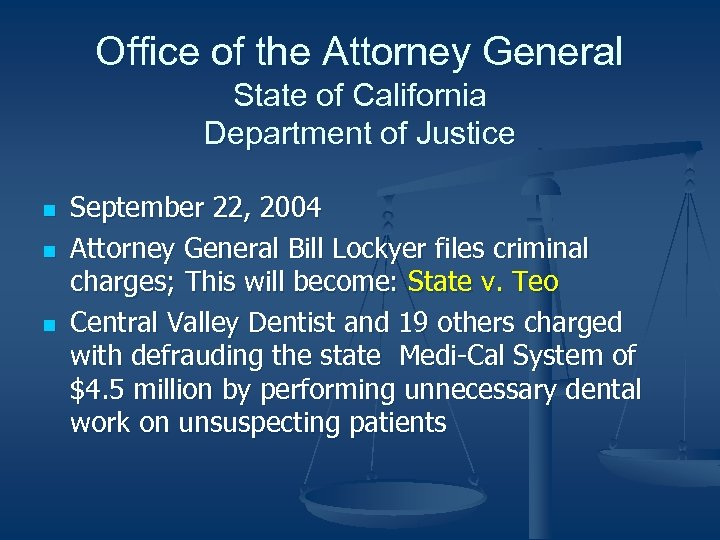 Office of the Attorney General State of California Department of Justice n n n
