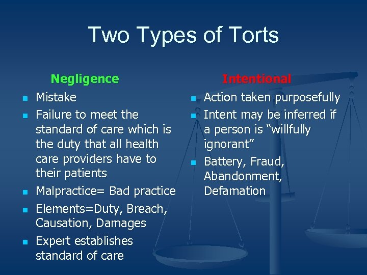 Two Types of Torts n n n Negligence Mistake Failure to meet the standard