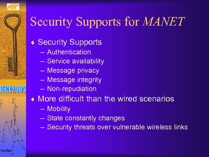 Security Supports for MANET ¨ Security Supports – Authentication – Service availability – Message