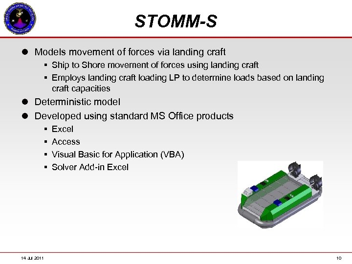 STOMM-S l Models movement of forces via landing craft § Ship to Shore movement