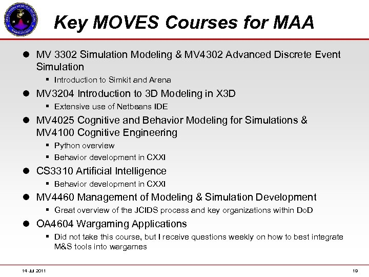 Key MOVES Courses for MAA l MV 3302 Simulation Modeling & MV 4302 Advanced