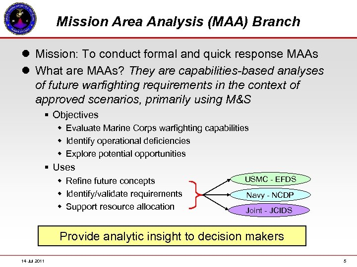Mission Area Analysis (MAA) Branch l Mission: To conduct formal and quick response MAAs