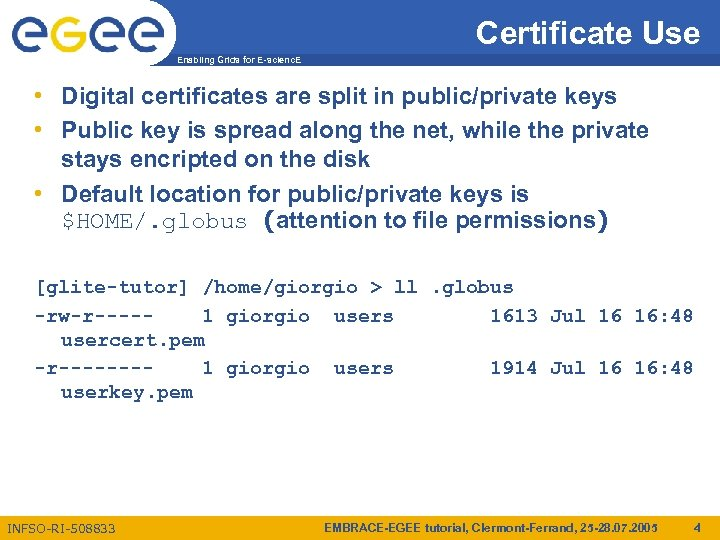 Certificate Use Enabling Grids for E-scienc. E • Digital certificates are split in public/private