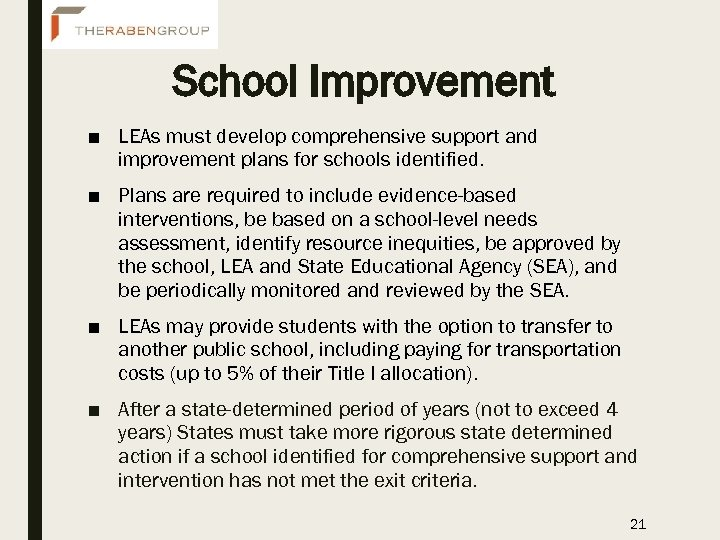 School Improvement ■ LEAs must develop comprehensive support and improvement plans for schools identified.
