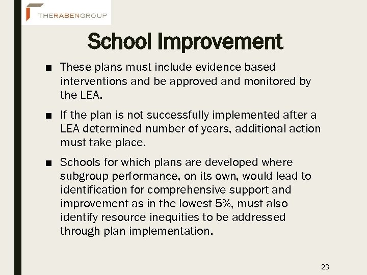 School Improvement ■ These plans must include evidence-based interventions and be approved and monitored