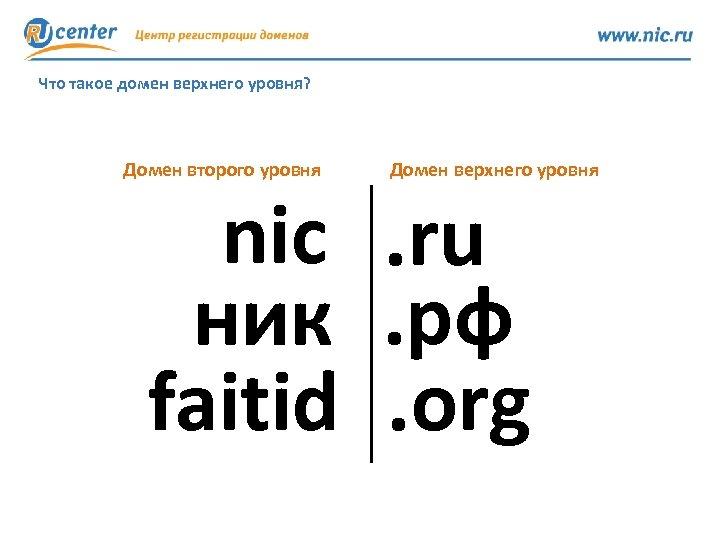 Что такое домен верхнего уровня? Домен второго уровня Домен верхнего уровня nic. ru ник.