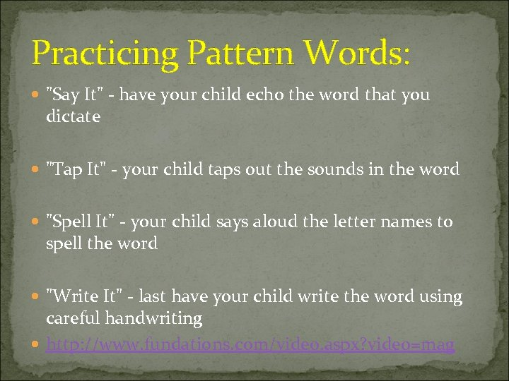 Practicing Pattern Words:
