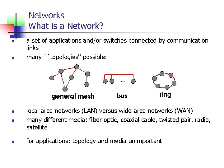 Networks What is a Network? n n a set of applications and/or switches connected