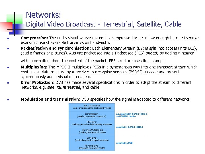 Networks: Digital Video Broadcast - Terrestrial, Satellite, Cable n n Compression: The audio-visual source