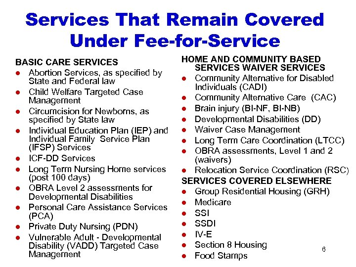Services That Remain Covered Under Fee-for-Service BASIC CARE SERVICES l Abortion Services, as specified