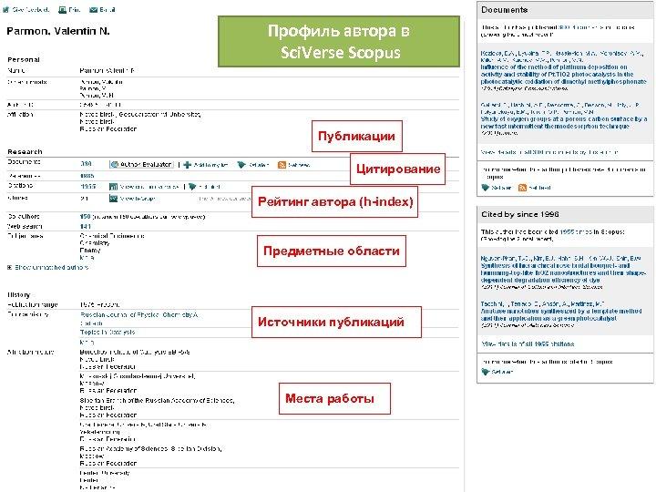 Профиль автора в Sci. Verse Scopus Публикации Цитирование Рейтинг автора (h-index) Предметные области Источники