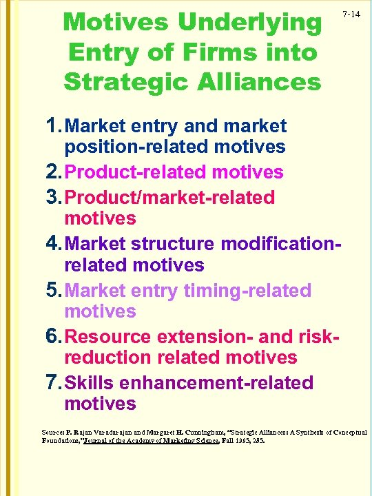 Motives Underlying Entry of Firms into Strategic Alliances 7 -14 1. Market entry and