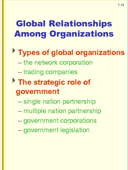 7 -18 Global Relationships Among Organizations 4 Types of global organizations – the network