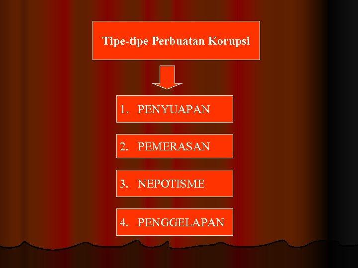 Tipe-tipe Perbuatan Korupsi 1. PENYUAPAN 2. PEMERASAN 3. NEPOTISME 4. PENGGELAPAN