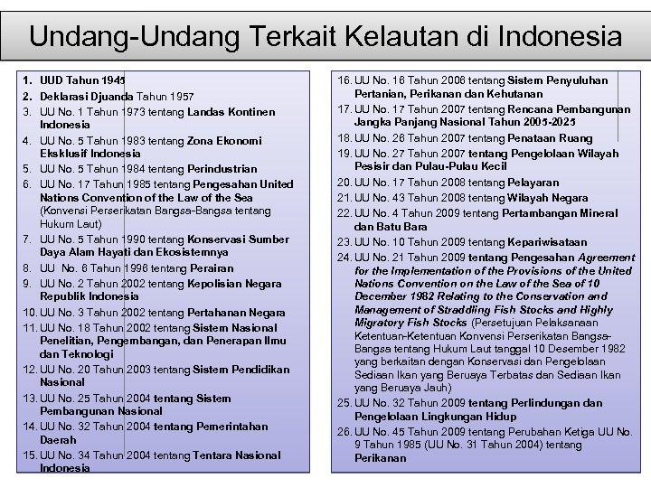 Undang-Undang Terkait Kelautan di Indonesia 1. UUD Tahun 1945 2. Deklarasi Djuanda Tahun 1957