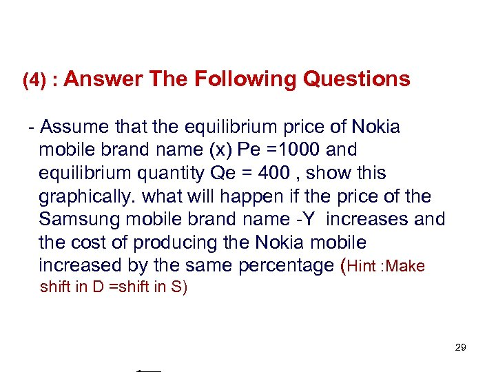 (4) : Answer The Following Questions - Assume that the equilibrium price of Nokia