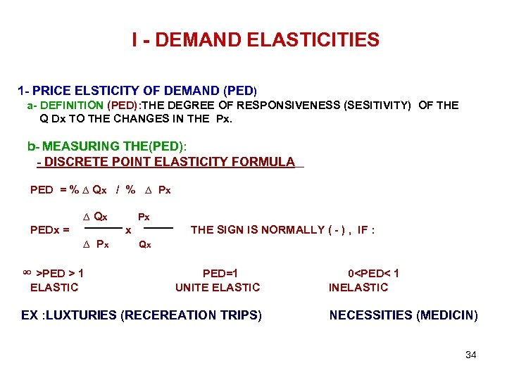 I - DEMAND ELASTICITIES 1 - PRICE ELSTICITY OF DEMAND (PED) a- DEFINITION (PED):