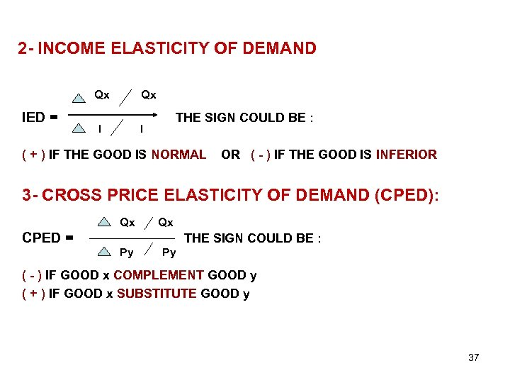 2 - INCOME ELASTICITY OF DEMAND Qx IED = Qx I THE SIGN COULD