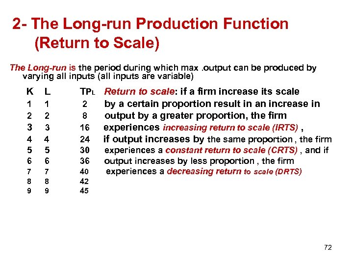 2 - The Long-run Production Function (Return to Scale) The Long-run is the period