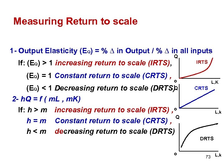 Measuring Return to scale 1 - Output Elasticity (EQ) = % ∆ in Output