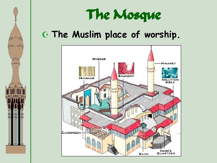The Mosque Z The Muslim place of worship.
