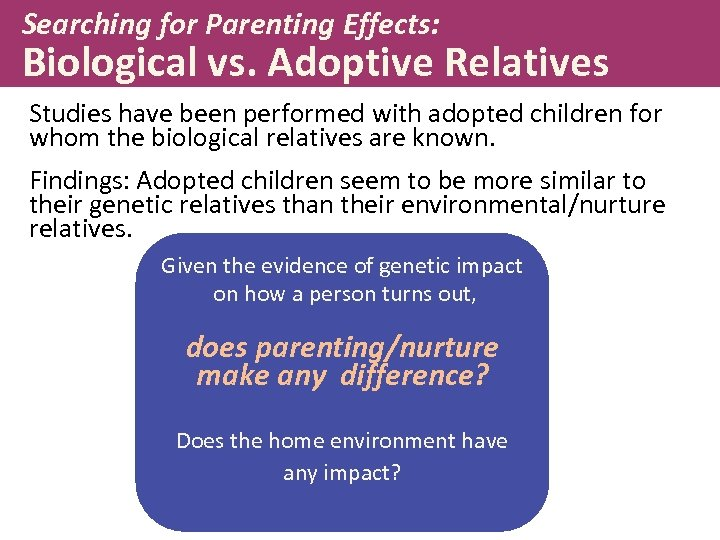 Searching for Parenting Effects: Biological vs. Adoptive Relatives Studies have been performed with adopted