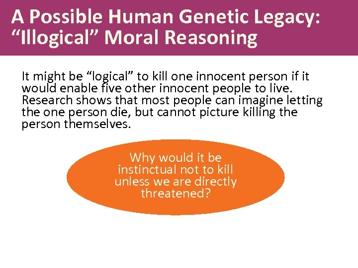 "A Possible Human Genetic Legacy: ""Illogical"" Moral Reasoning It might be ""logical"" to kill"