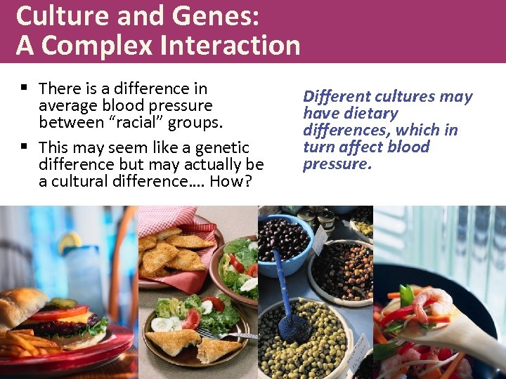 Culture and Genes: A Complex Interaction § There is a difference in average blood