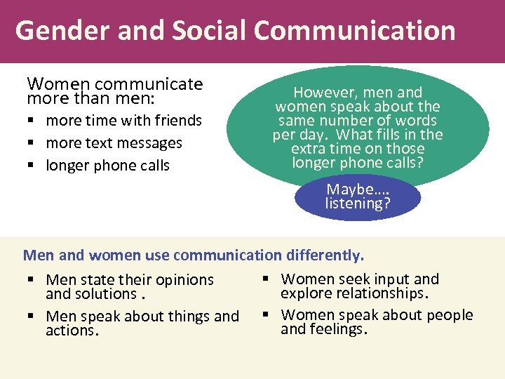 Gender and Social Communication Women communicate more than men: § more time with friends