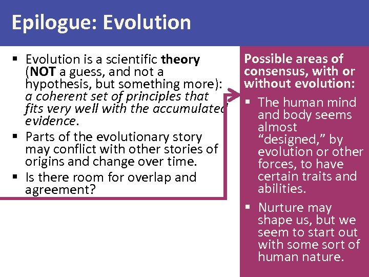 Epilogue: Evolution § Evolution is a scientific theory (NOT a guess, and not a