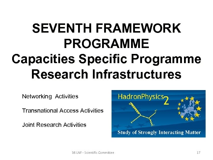 SEVENTH FRAMEWORK PROGRAMME Capacities Specific Programme Research Infrastructures Networking Activities Transnational Access Activities Joint
