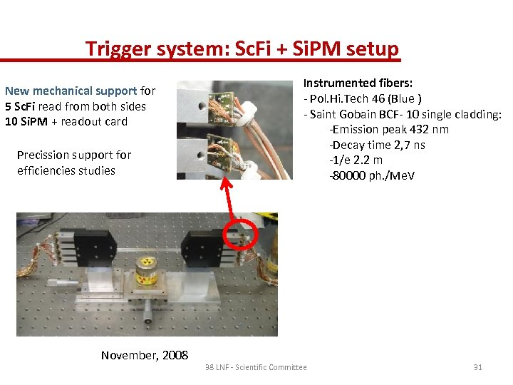 Trigger system: Sc. Fi + Si. PM setup New mechanical support for 5 Sc.