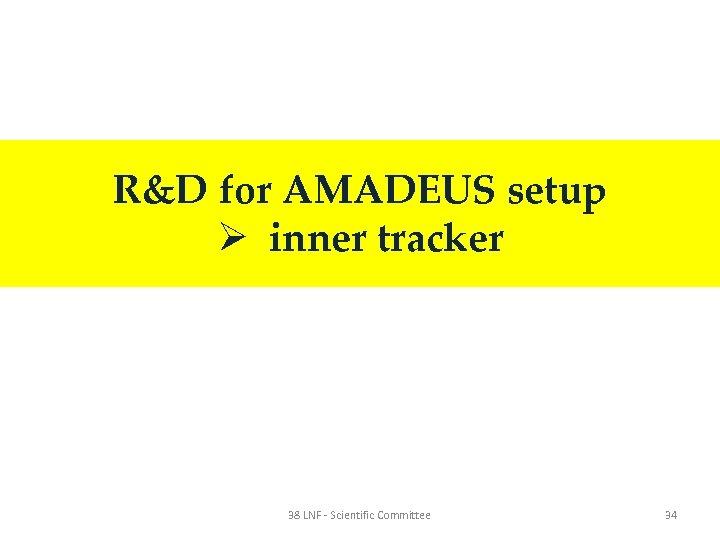 R&D for AMADEUS setup Ø inner tracker 38 LNF - Scientific Committee 34