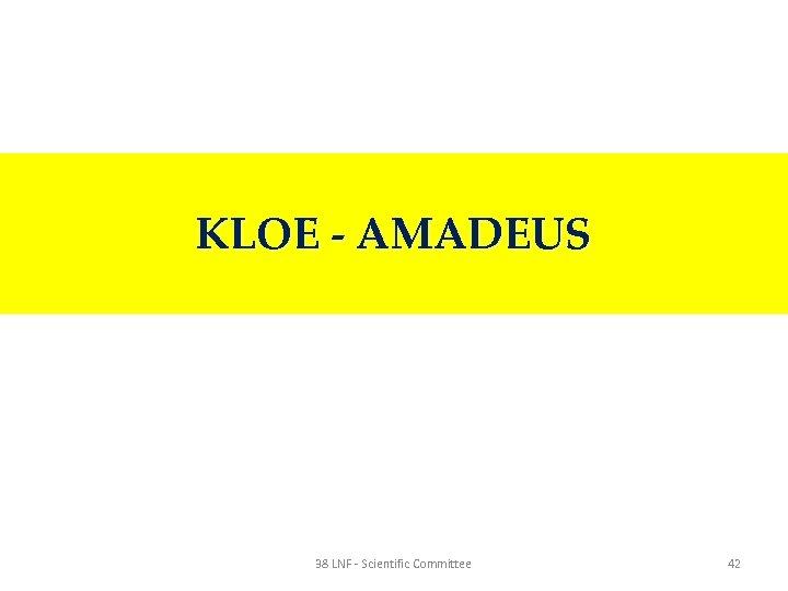 KLOE - AMADEUS 38 LNF - Scientific Committee 42