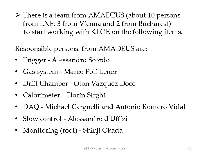 Ø There is a team from AMADEUS (about 10 persons from LNF, 3 from
