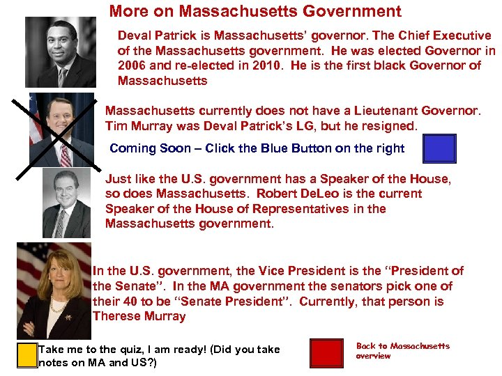 More on Massachusetts Government Deval Patrick is Massachusetts' governor. The Chief Executive of the